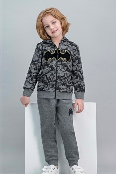 Batman Batman Lisanslı Petrol Erkek Çocuk Kapüşonlu Eşofman Takımı Gri